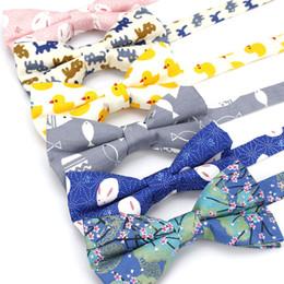 c884bafe0957 Men's Bow Tie Adjustable 100% Cotton Butterfly Cravat Animal Cat Fish Duck Print  Bowtie Tuxedo Bows Male Accessories