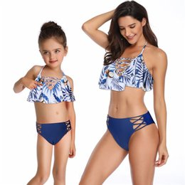 c12057b357 Mother Daughter Swimwear Family look Women girls Bikini Bathing Swimsuit  Brachwear Family Matching Outfits Mom Daughter Clothes