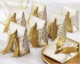 Candy Wrapping Paper Australia - Romantic Wedding Candy Boxes Golden Silver Ribbon Party Gift Paper Bag Luxury Design Cookies Wrap Bags New 0 17kt ZZ