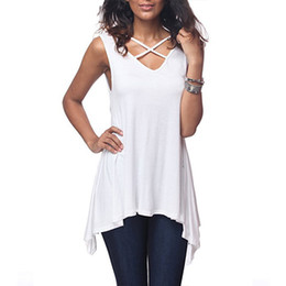 Sexy Army Shirts Australia - Sexy Criss Cross V Neck T Shirt 2019 Ladies Summer Sleeveless Tee Tops Loose Irregular Hem Long Tops Casual Solid Women T-Shirts