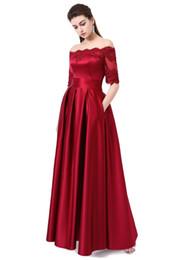 $enCountryForm.capitalKeyWord UK - 2019 New Wine Red Lace Embroidery Luxury Satin Half Sleeved Long Evening Dress Elegant Banquet Prom Dress Robe de Soiree 497