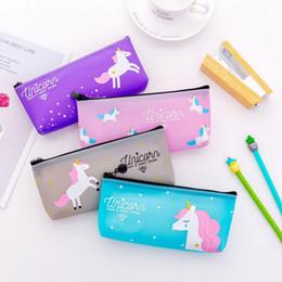 $enCountryForm.capitalKeyWord Australia - Kawaii cute unicorn pen bags PVC Starry Sky pencil case canvas zipper stationery bags Student's pencil box