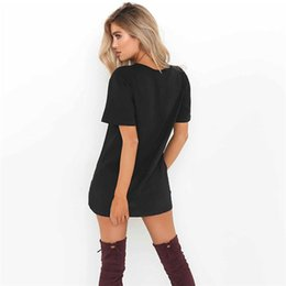 hot women s casual clothes NZ - Free Shipping Hot Selling Dresses for Women Clothes Fashion short Sleeve Casual Loose V Neck T-Shirt Dress Plus Size S-XXL YKD8