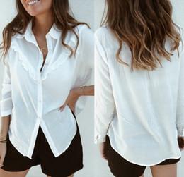 Wholesale ruffle blouses formal for sale – plus size Women Autumn Blouses Vintage Solid Ruffles Blouse Long Sleeve Shirt Office Lady Camisas Feminina Female Tops Fashion White Shirt