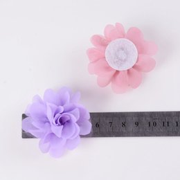 "chiffon flower hair clips wholesale UK - Fashion 100pcs lot 2"" Mini Chiffon Flowers for Baby Girls Headbands Clips Diy Women Children Hair Flowers Home Decor Accessories"