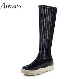 Wholesale AIWEIYi Women s Breathable Lace Upper Flat Heels Shoes Woman Rubber Sole Summer Knee High Boots Long Boots