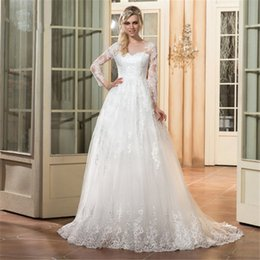$enCountryForm.capitalKeyWord NZ - 2018 Modern White Lace Plus Size Wedding Dresses Sweep Train Long Sleeves Bridal Gowns Custom Hollow Back Sheer Neck Courtry Bridal Dresses