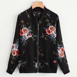 $enCountryForm.capitalKeyWord NZ - casaco feminino abrigos mujer invierno 2019 women's coats Retro Floral Printing Zipper Up Bomber Jacket Casual Coat Outwear #50