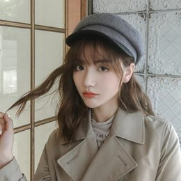 korean beret Canada - Navy cap Japanese style retro stripe navy cap Korean version with British beret trend New winter