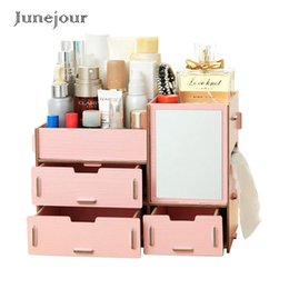 Diy Folding Table Australia - wholesale Makeup Organizer Case Wooden Office Table Storage Box Container Handmade DIY Assembly Wood Jewelry Cosmetic