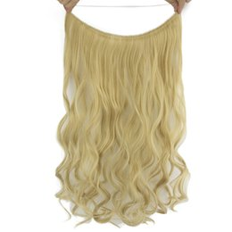 Blonde Halo Hair Australia - 10 Color Long Blonde Burgundy Curly Synthetic Hair Heat Resistant Hairpieces Fish Line Halo Invisible Hair