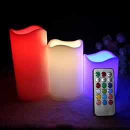 "flameless candles remote Australia - New Arrive 3pc lot LED Flameless Candles 4"" 5"" 6"" Pillar Color Changing Remote Glow Wedding Home Bar table Décor LED Candle"