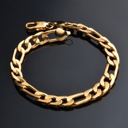 $enCountryForm.capitalKeyWord Australia - Hip Hop Bling Jewelry 18K Gold Plated 8mm 3:1 Curb Figaro NK Chain Bracelet