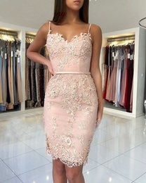 Red Pink Strap Lace Dress Australia - New Fashion 2019 Sexy Spaghetti Straps Pink Lace Applique Beaded Custom made Knee Legnth Cheap Cocktail Dresses