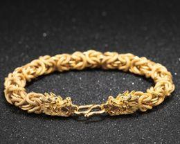 14k Gold Bracelets Australia - Hot sale new men boy fashion jewelry gold plated copper dragon bracelet boyfriend husband father birthday festival gift