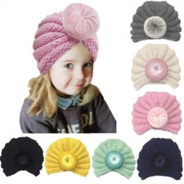 Wholesale Knit Infant Beanies Australia - Baby Warm Knot Ball Caps Cute Fathion Kids Knitting wool Hats Toddler Girls Infant Knit Beanie Crochet Ski Ball Cap TTA201