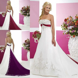 4f19dc62a6b White basque corset online shopping - White and Red Vintage Wedding Dresses  Strapless Bridal Gowns with
