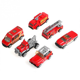 AeriAl for cArs online shopping - 6Pcs Set Scale Alloy Plastic Miniature Aerial Ladder Fire Truck Rescue Car Toys Mini Vehicle Model Gift Toys For