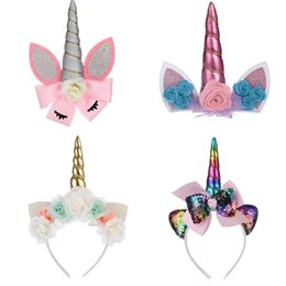 Real Braid Headband Hair Australia - Floral Cat Ears Unicorn Barrettes Sequins Unicorn Horn Hairbands Clips Party Kids Girls Hair Headbands Cosplay Decoration Unicorn Hair Bows