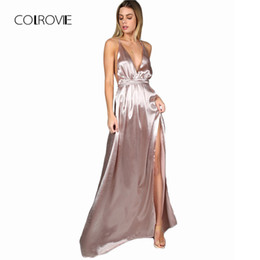 Plunge maxi dress sexy online shopping - Colrovie Maxi Party Dress Women Pink Plunge Neck Sexy Cross Back Wrap High Slit Summer Dresses Elegant Club Long Cami Dress T4190617