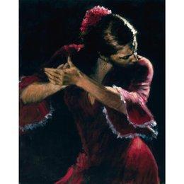 Ingrosso Quadro donna Studio per flamenco dipinto a mano figura pittura su tela di alta qualità
