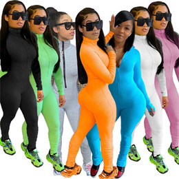 Wholesale sexy women onesie for sale – plus size Women jumpsuits solid color onesie long sleeve rompers skinny overalls sexy clubwear summer clothing slim one piece pants plus size