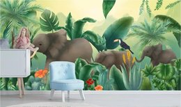 Discount elephant picture home decor 3d wallpaper custom photo mural Nordic tropical plant coconut tree animal elephant background wall home decor wall art p