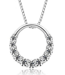 necklaces pendants Australia - 925 Sterling Silver Pendant Necklace Woman 11PCS Zirconia Crystal 1.2cm*1.2cm Round Ring Pendant Water Necklace free shipping