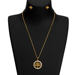 Gold Acrylic Pendants NZ - Stainless Steel Acrylic Jewelry Set Geometric Hollow Life Tree Pendant Necklace Stud Earrings For Women Gold Plated Accessories Wholesale
