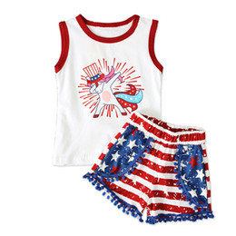 Girl Toddlers Australia - 1-4T Girls Independence Day summer outfits 2pc set unicorn sleeeless T shirt+pompon shorts cute toddlers Stars and Stripes pattern clothing