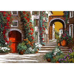 $enCountryForm.capitalKeyWord NZ - Modern art on canvas Garden paintings mediterranean the other red door at sunset hand-painted home decor