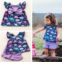 $enCountryForm.capitalKeyWord Canada - Dinosaur Print Fashion Outfits Boutique Summer Kids Clothing Sets Girls Petal Sleeve Bow t shirt Dress + Shorts 2 Piece Trend Clothes C71907