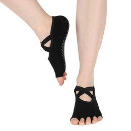 pilates socks grips 2019 - 1 Pair Women Yoga Backless Five Toe Anti-Slip Ankle Grip Socks Dots Pilates Fitness Gym Socks Ladies Cotton Running Spor