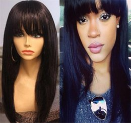 Full Wig Lace Front Bangs Australia - Straight Lace Front Wig Peruvian Virgin Hair Full Bangs Wig Human Hair Glueless Full Lace Wig With Bangs Bleached Knots For Black Women