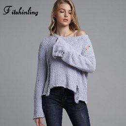 women grey sweaters NZ - Fitshinling Ripped hole vintage sweaters for women autumn 2019 fashion slim grey pullover female solid basic lady's sweater sale