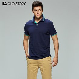 Solid Story online shopping - Glo story Shipped From European Men s Basic Casual Knitted Cotton Male Polo Short Sleeve Shirt Mpo SH190718