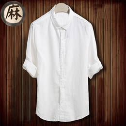 Linen Slim Shirts Australia - White Linen Shirts Men Spring Autumn Fashion Casual Long Sleeve Solid Slim Fit Camisa Masculina Casual Male Hawaiian Shirts