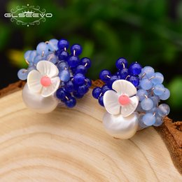 natural stone stud earrings Canada - Glseevo 925 Sterling Silver Stud Earrings For Women Big White Freshwater Pearl Blue Natural Stone Shell Flower Earrings Ge0017 J190718