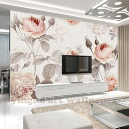 rose painting wall decor 2019 - Custom 3D Photo Wallpaper Mural Hand Painted retro Rose Flower Wall Mural wedding Living Room Home Decor Painting Wall P