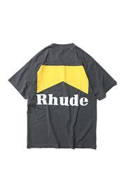 Venta al por mayor de 2019 Rhude Mejor Logotipo de Calidad Impreso Mujer Hombre Camisetas camisetas Hiphop Hombres Camiseta de Algodón Shourt Sleeve Para el Verano