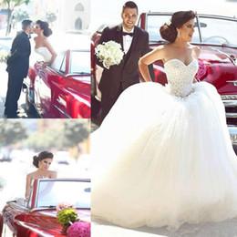 Sweethearts Ball Australia - Newest Sweetheart Ball Gown Wedding Dresses Middle East Arabic Lace up Back Court Train Bridal Dresses Wedding Gowns Vestido De Novia
