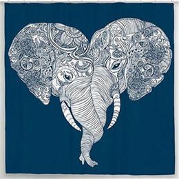 Chinese  Mandala Elephant Shower Curtain Set Indian Art Boho Bathroom Decor Blue Fabric Hooks Included 72 x 72 manufacturers