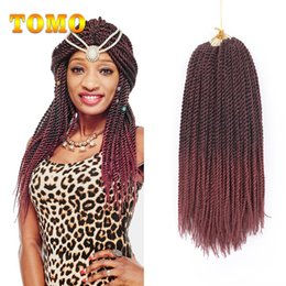hair for braids african NZ - Crochet Braids Hair Extensions Senegalese Twist Ombre Burgundy Kanekalon Synthetic Braided Hair For African Americanwoman 30 Strands  Pack