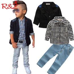 $enCountryForm.capitalKeyWord Australia - R&Z 2018 autumn new boy suit suit plaid shirt jeans 3 piece set denim plaid clothing children long sleeve