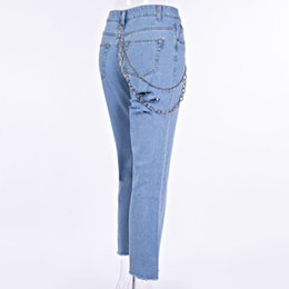 $enCountryForm.capitalKeyWord UK - Women Rock And Roll Cowgirl Jeans Hip Hop Jeans With Chains Ripped Chain Butt Hole Straight High Waist Denim Pants Female