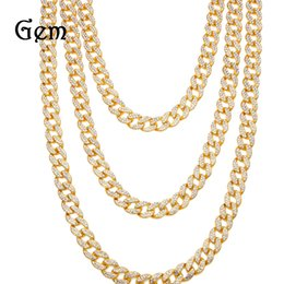 Luxury Chains Australia - Mens Gold Iced Out Diamond Hip Hop Cuban Link Chain Necklace 15mm Designer Luxury Curb Long and Choker Chains Rapper Jewelry Gifts for Boys