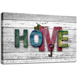 "$enCountryForm.capitalKeyWord UK - 1 Panels Wall Art Painting ""Home"" Vintage Wood Background Framed Picture Canvas Prints Modern Decor for Living Room Bedroom Decoration"