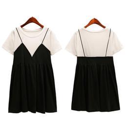 $enCountryForm.capitalKeyWord UK - New Arrival Summer 2018 Korean Fashion Clothing Women Preppy Style Faux Two Piece Loose Plus Size L-5xl Cotton Short Dress 5312 J190511