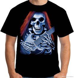Goth Metal Australia - Velocitee Mens T Shirt Skeleton Guitarist Rock Music Heavy Metal Goth S3701