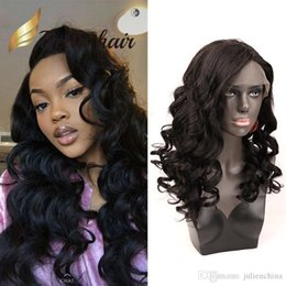 beautiful black wave hair NZ - Loose Body Wave 13x4 Lace Front Wig Beautiful Human Hair wigs Wavy Hair Wig Natural Black Color 130%150% density Julienchina BellaHair